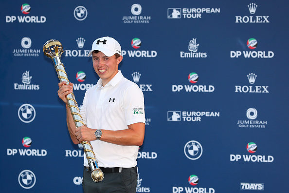 DUBAI, UNITED ARAB EMIRATES - NOVEMBER 20: Matt Fitzpatrick of England poses with the trophy following his victory during day four of the DP World Tour Championship at Jumeirah Golf Estates on November 20, 2016 in Dubai, United Arab Emirates. (Photo by Andrew Redington/Getty Images)