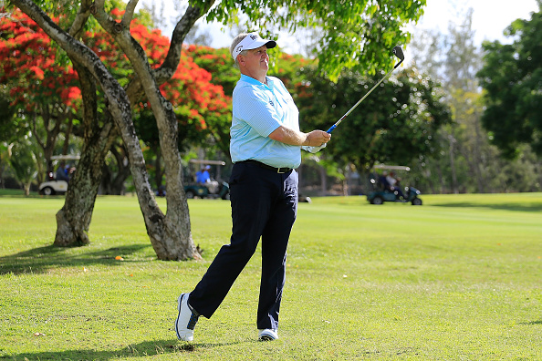 POSTE DE FLACQ, MAURITIUS - DECEMBER 08: Colin Montgomerie of Scotland in action during the ProAm ahead of the first round of the MCB Tour Championship played on the Legend Course, Constance Belle Mare Plage on December 8, 2016 in Poste de Flacq, Mauritius. (Photo by Phil Inglis/Getty Images)