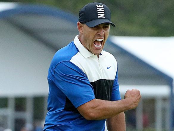 L'urlo di Brooks Koepka dopo il putt vincente del PGA Championship 2019, sul Bethpage Black course di Farmingdale, New York.