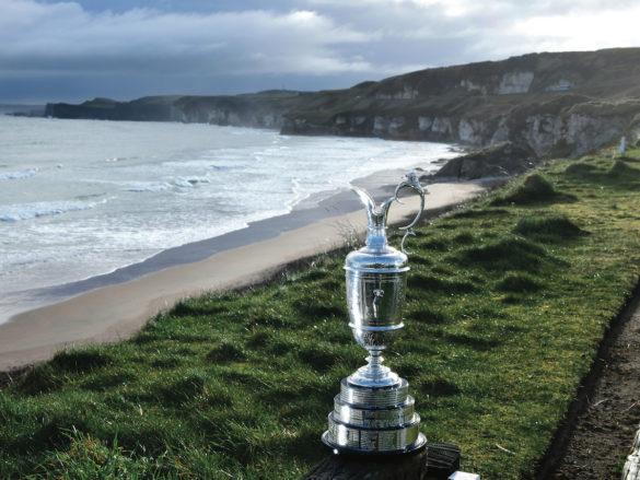 La Claret Jug al Royal Portrush Golf Club. L'Open Championship ritorna al Royal Portrush per la prima volta dal 1951, dal 18 al 21 luglio. (Photo by Charles McQuillan/Getty Images)