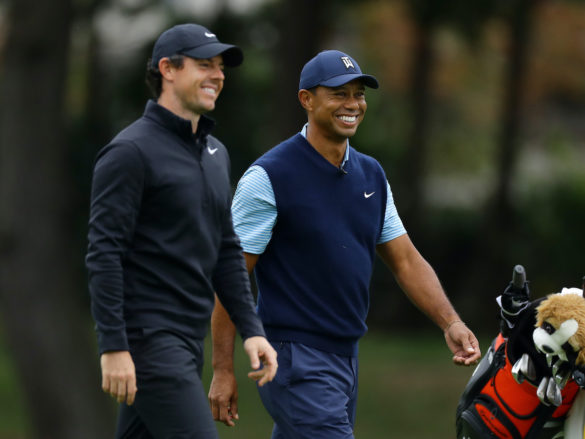 INZAI, JAPAN - OCTOBER 21: Tiger Woods of the United States and Rory McIlroy of Northern Ireland shares a laugh on the 4th hole during The Challenge: Japan Skins at Accordia Golf Narashino Country Club on October 21, 2019 in Inzai, Chiba, Japan. (Photo by Richard Heathcote/Getty Images)