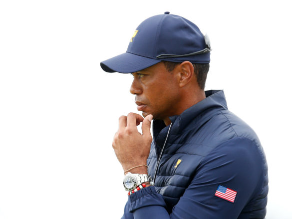 MELBOURNE, AUSTRALIA - DECEMBER 14: Playing Captain Tiger Woods of the United States team looks on during Saturday afternoon foursomes matches on day three of the 2019 Presidents Cup at Royal Melbourne Golf Course on December 14, 2019 in Melbourne, Australia. (Photo by Darrian Traynor/Getty Images)