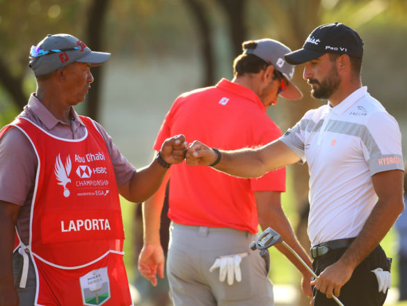 ABU DHABI, UNITED ARAB EMIRATES - JANUARY 18: Francesco Laporta of Italy reacts with his caddie on the 18th green during Day Three of the Abu Dhabi HSBC Championship at Abu Dhabi Golf Club on January 18, 2020 in Abu Dhabi, United Arab Emirates. (Photo by Warren Little/Getty Images)