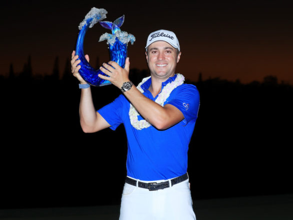 KAPALUA, HAWAII - JANUARY 05: Justin Thomas of the United States celebrates with the winner's trophy after the final round of the Sentry Tournament Of Champions at the Kapalua Plantation Course on January 05, 2020 in Kapalua, Hawaii. (Photo by Sam Greenwood/Getty Images)