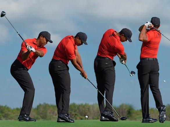 La splendida esecuzione di un tee shot con il driver di Tiger Woods